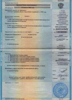 приложение к Диплому Цветкова Игоря Александровича
